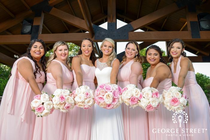 heritage springs dallas outdoor wedding bridesmaid portraits