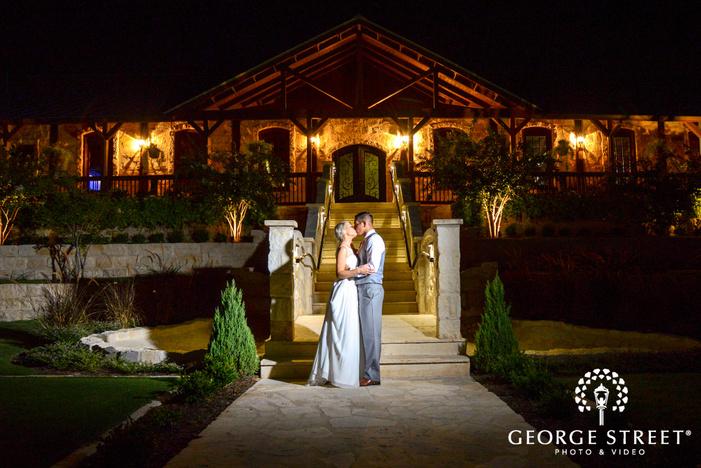 heritage springs wedding reception dallas bride and groom outdoor night portrait
