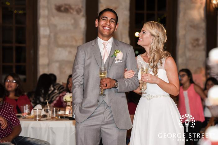 heritage springs wedding reception dallas bride and groom toast candid