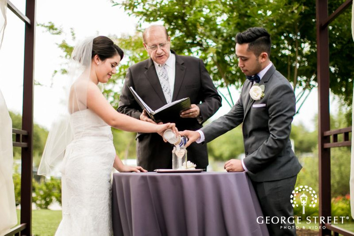adorable bride anbd groom at wedding ceremony            s