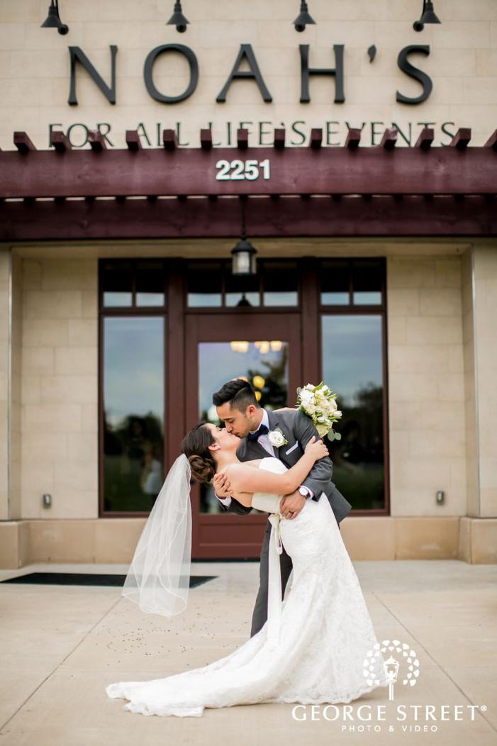 lovable bride and groom at reception venue             s