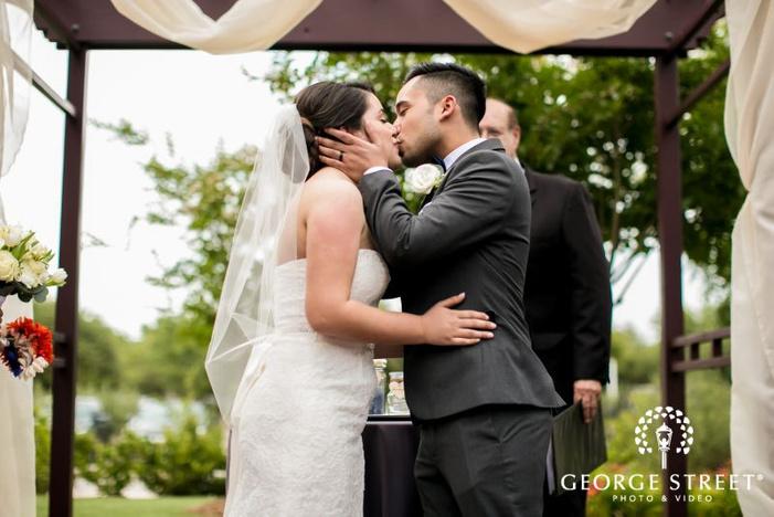 romantic bride and groom at weddinig ceremony            s