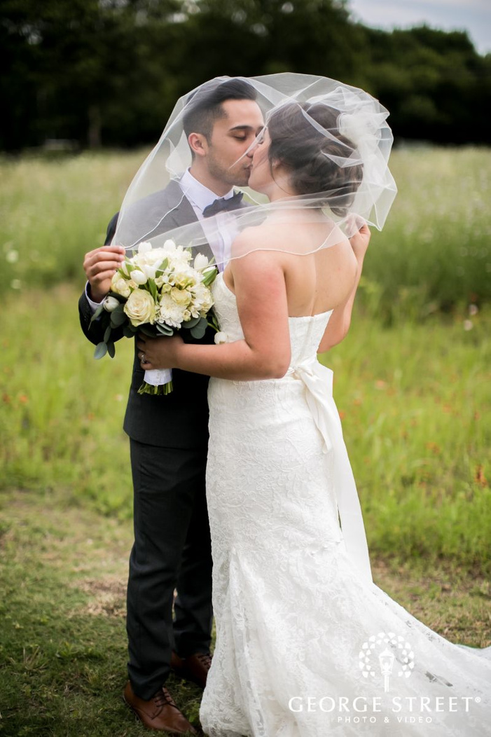 romantic bride and groom in lawn             s