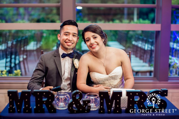 sweet bride and groom at reception            s