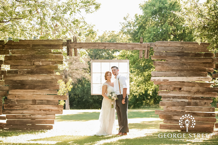 charming bride and groom at events at cedar bend in austin