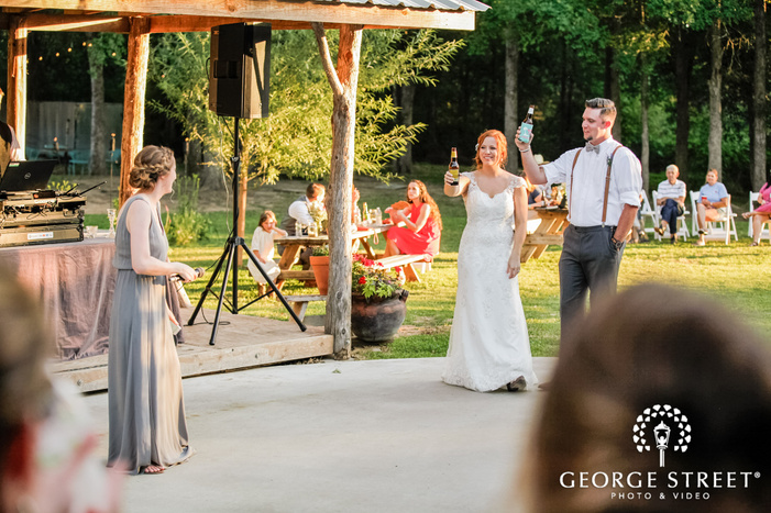 cheerful bride and groom at reception