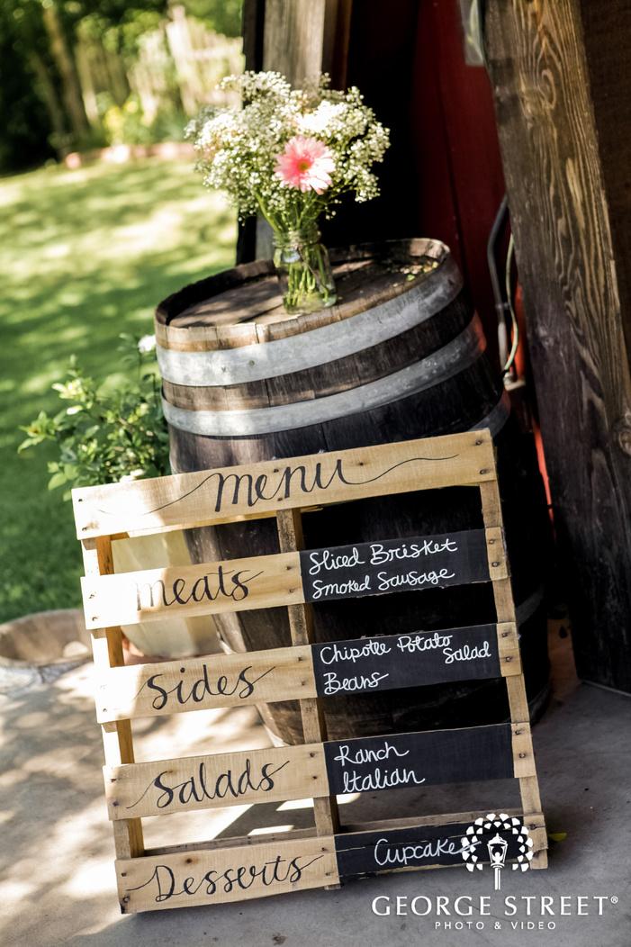 classy menu board at reception