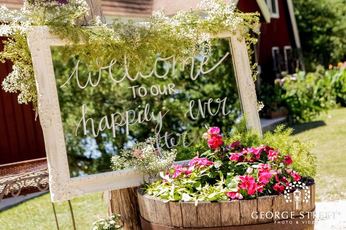 elegant welcome decor at wedding ceremony