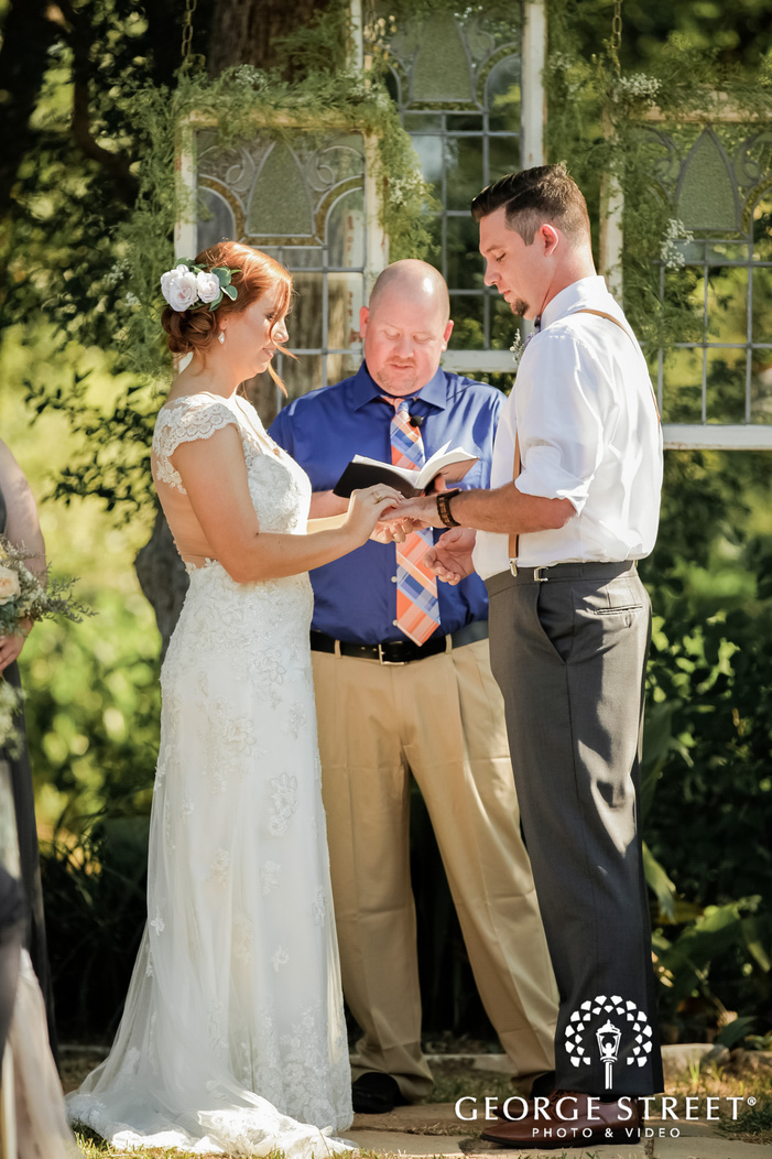 loving bride and groom rings exchange ceremony