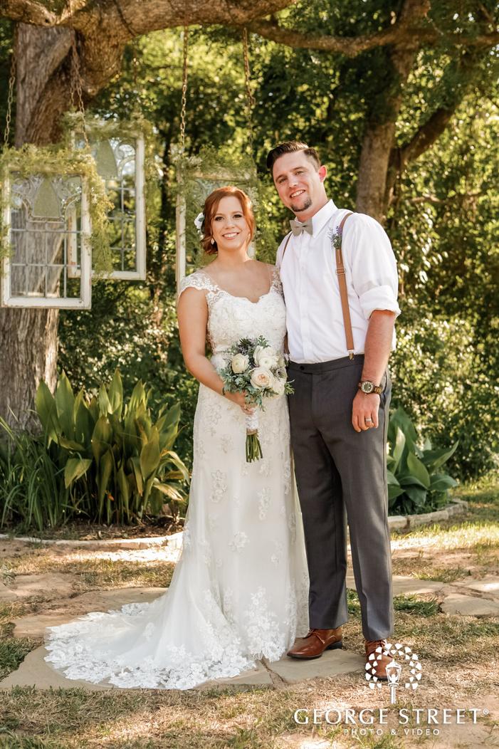 ravishing bride and groom in lawn