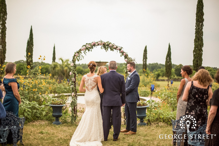 passionate bride and father at wedding ceremony