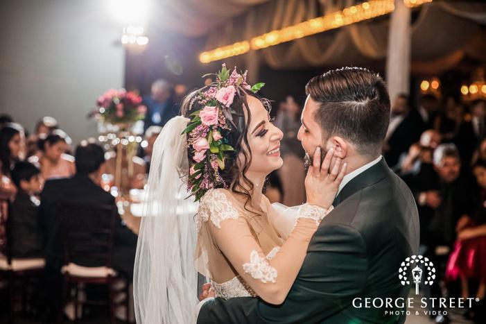 adorable bride and groom reception dance