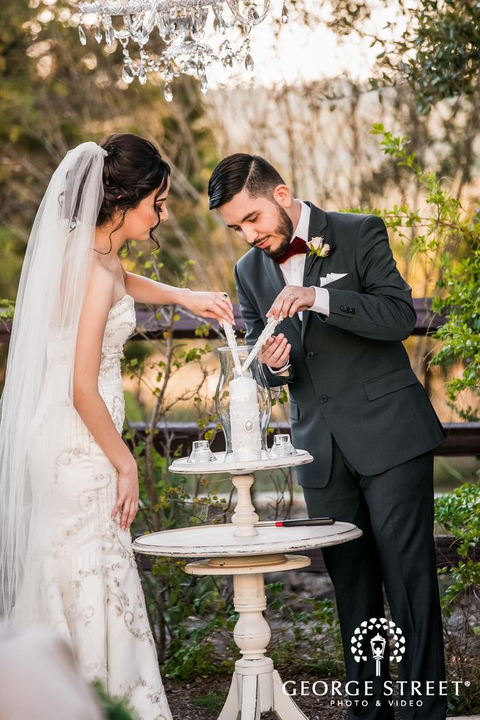 attractive bride and groom at wedding ceremony