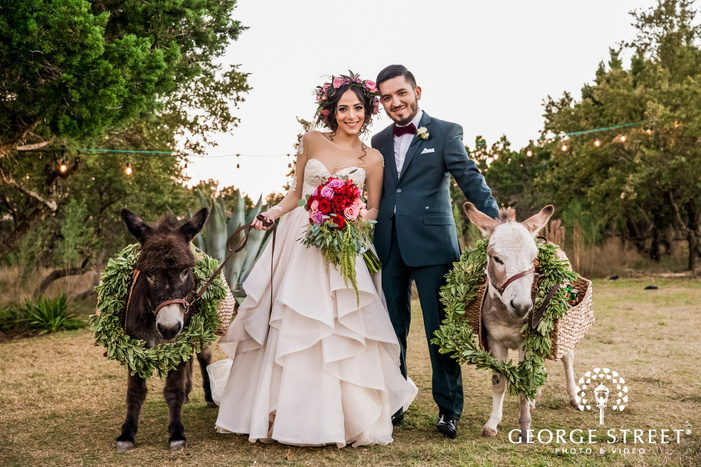 attractive bride and grooom with mules