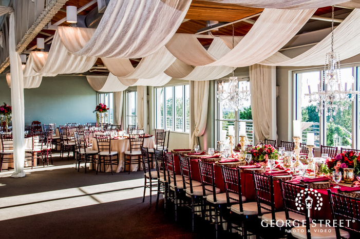 classy reception hall setting wedding photos
