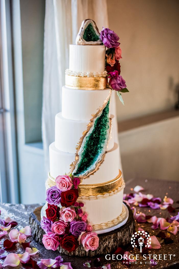 delicious wedding cake at reception