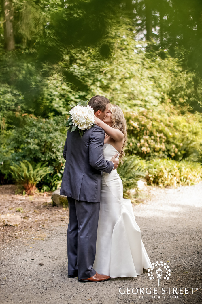 adorable bride and groom in forest wedding photography