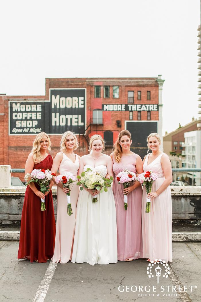 beautiful bride and bridemaids on terrace wedding photo