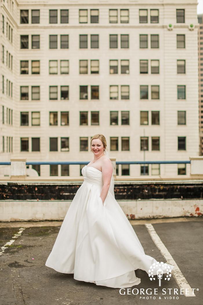 beautiful bride on terrace in seattle wedding photography
