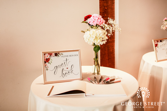 lovely guest sign book wedding photo