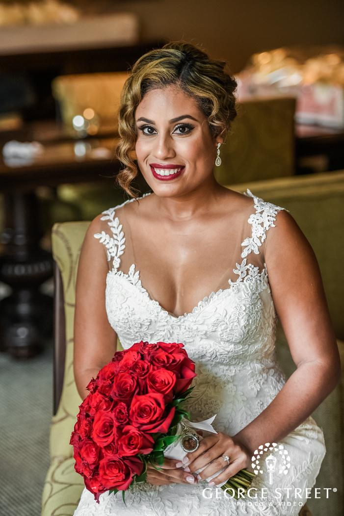cute bride and beautiful bridal bouquet wedding photo