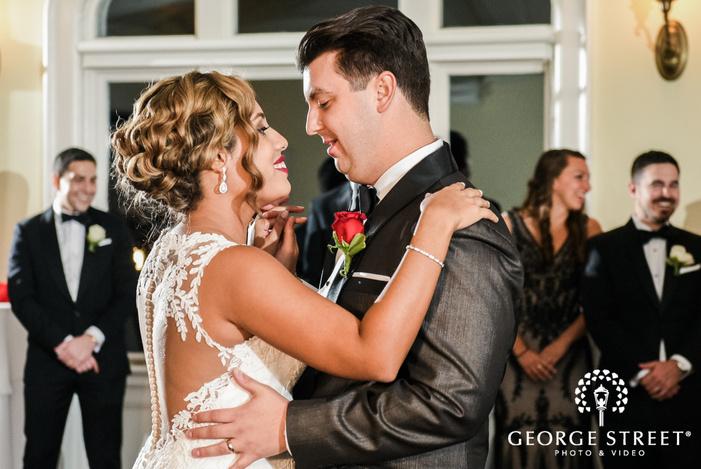 happy bride and groom first dance wedding photos