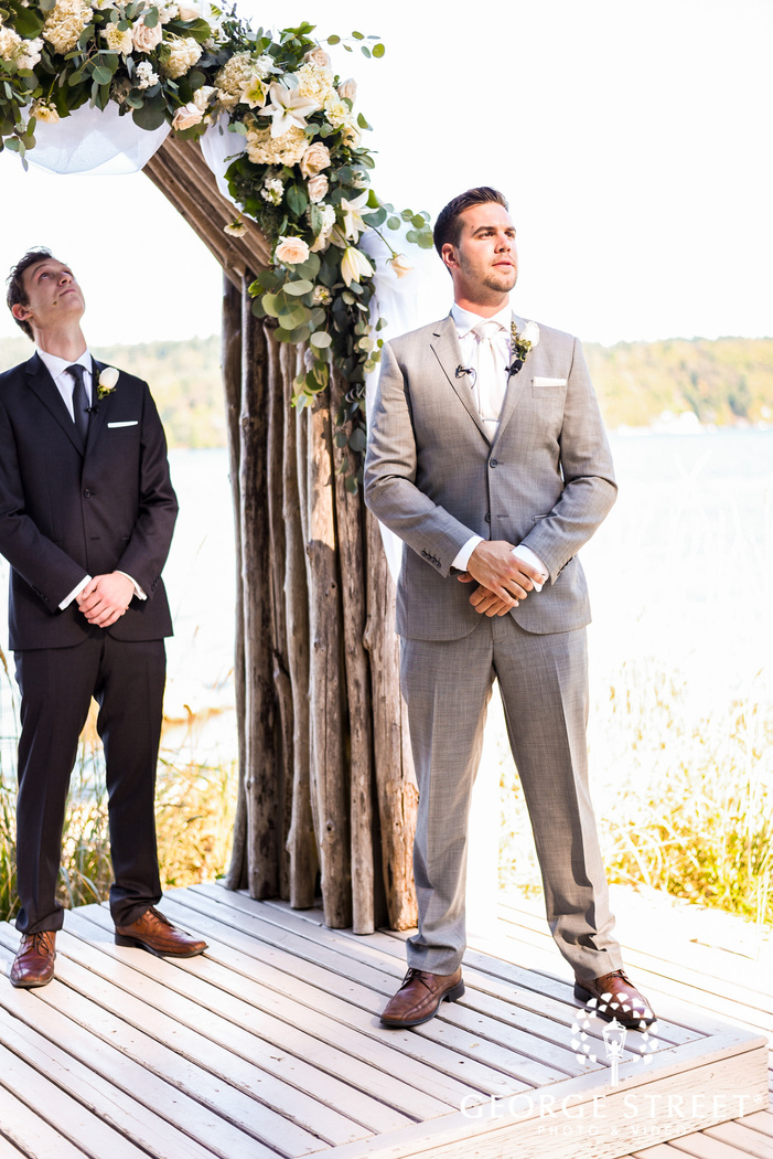 joyful groom first look to bride