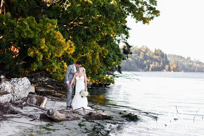 loving bride and groom wedding photo