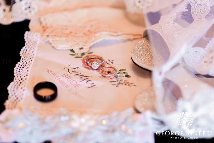 modish birde and groom wedding rings detail