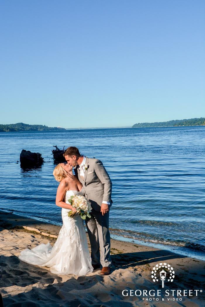 romantic bride and groom at riverside