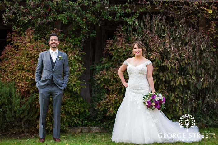 lovely bride and groom in greenery wedding photo at texas old town in austin