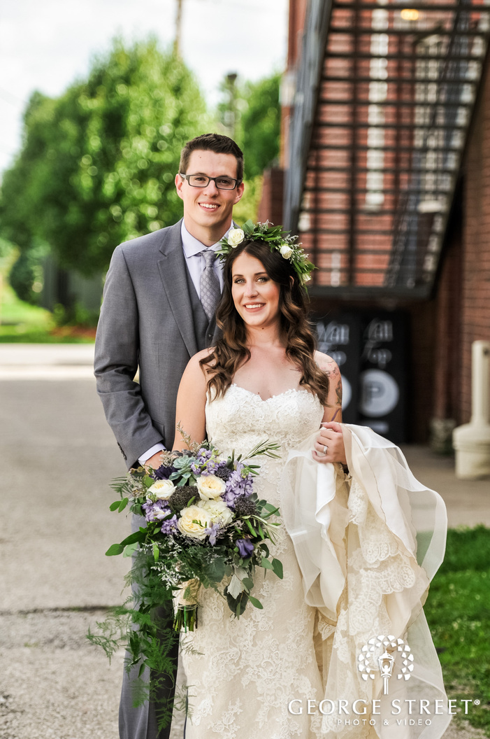 loving bride and groom at indianapolis