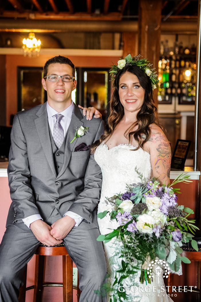 sweet bride and groom reception hall wedding photo