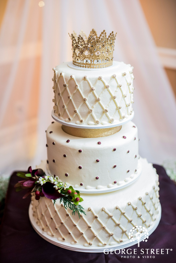 beautiful white three tier wedding cake wedding photo