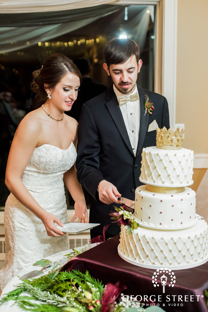 charming bride and groom cake cutting wedding photos