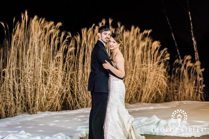 charming bride and groom near meadows wedding photos