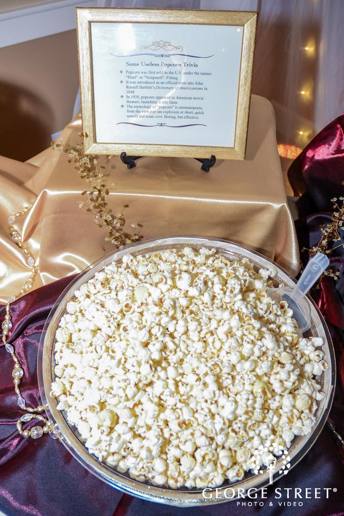 delicious reception food popcorn wedding photos