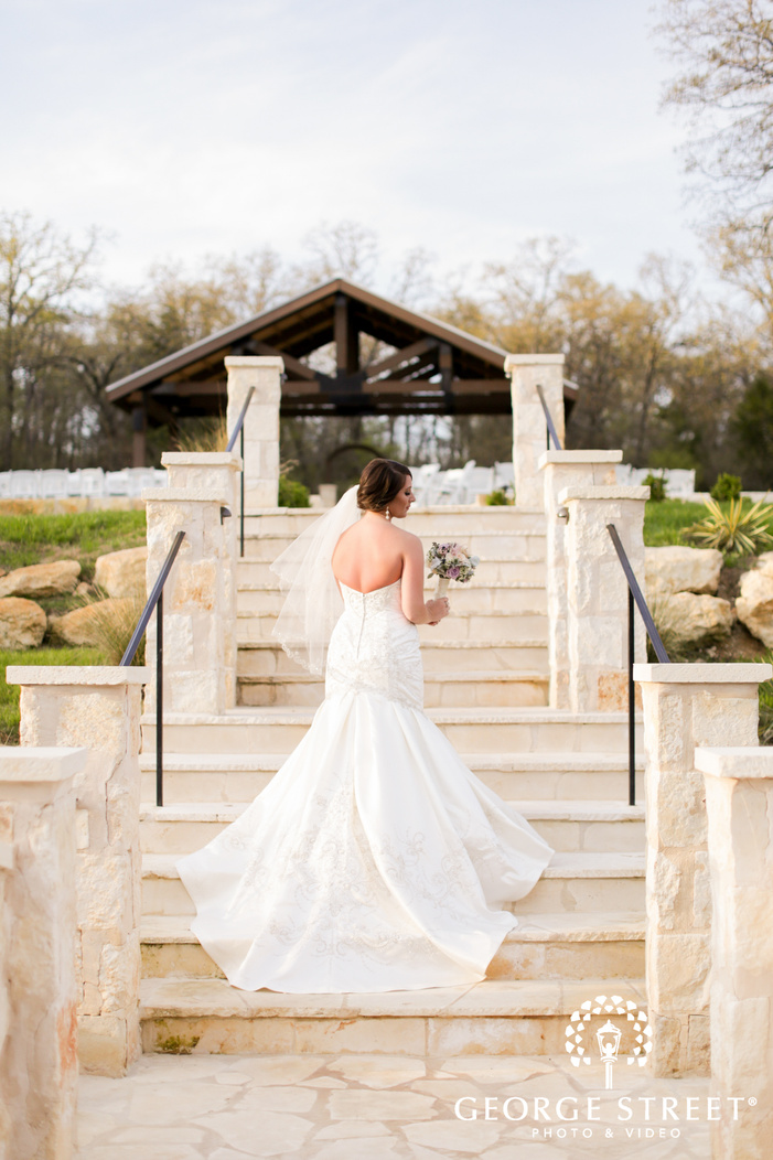 bridal portrait on stairs at hidden springs