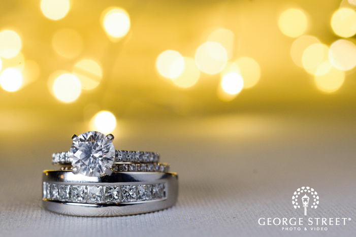 silver diamond wedding ring detail