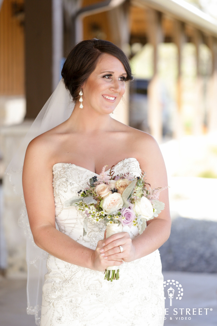 smiling bride outdoor portrait