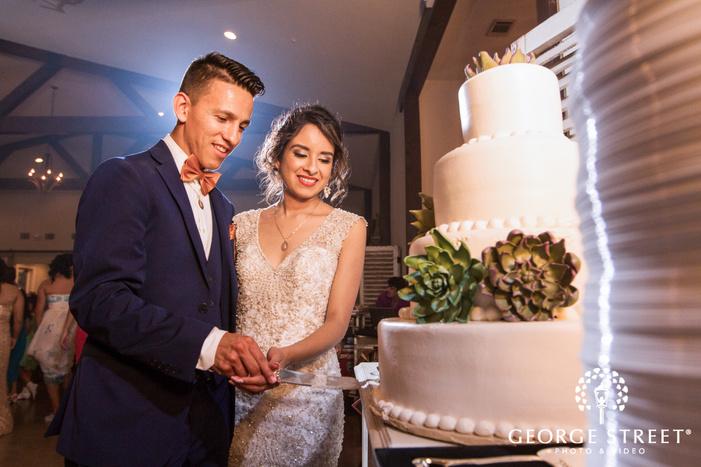 pecan springs ranch austin wedding reception bride and groom cake cutting