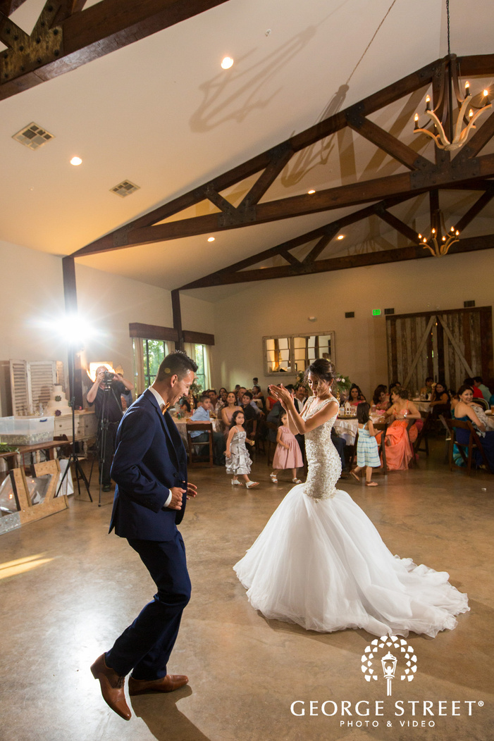 pecan springs ranch austin wedding reception bride and groom first dance