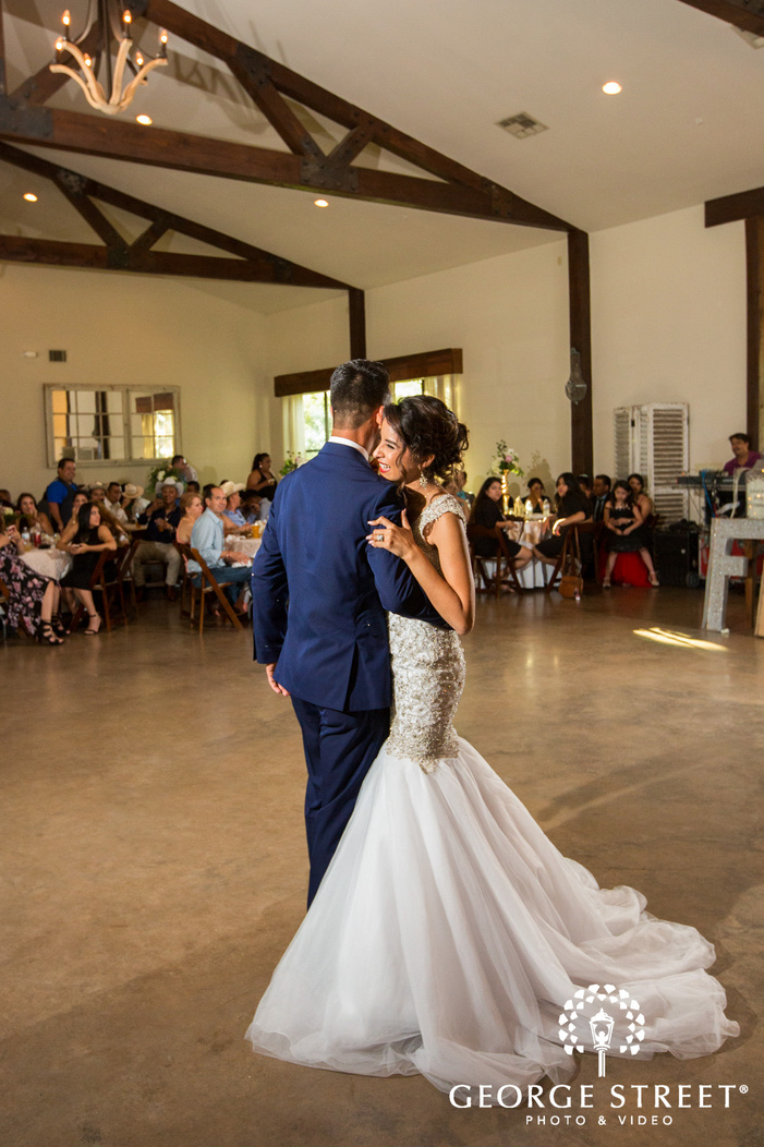 pecan springs ranch austin wedding reception bride groom first dance