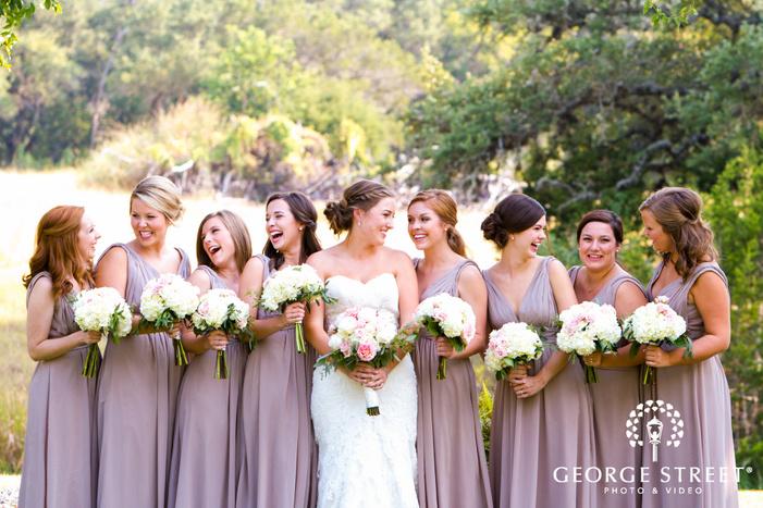 pecan springs ranch wedding beautiful outdoor bridesmaid portrait