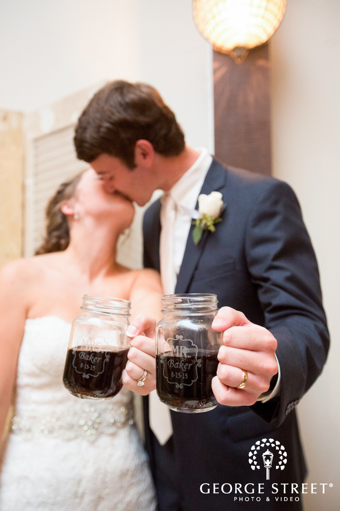 pecan springs ranch wedding bride and groom cheers candid