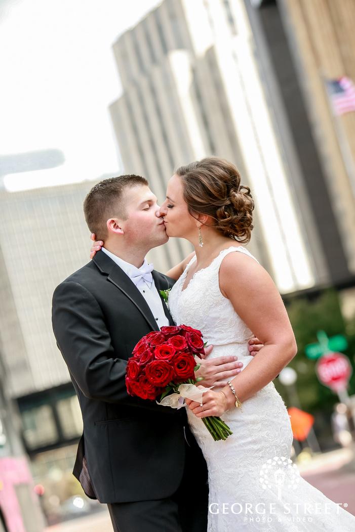 romantic bride and groom wedding photo