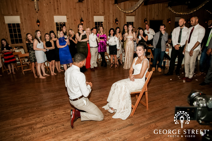cheerry garter moment on reception gabriel springs austin wedding photos