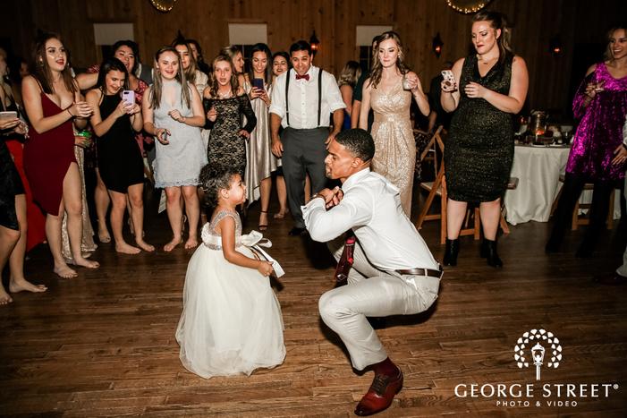 cheery groom dance with flower girl gabriel springs austin wedding photos