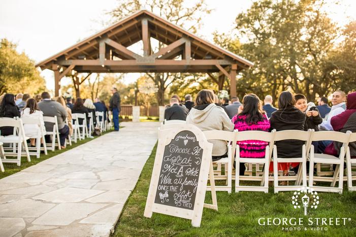 cute ceremony venue welcome board gabriel springs austin wedding photos