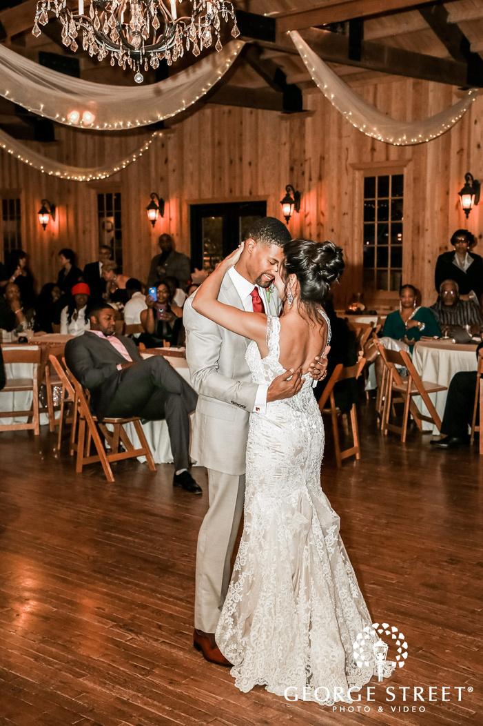 dancing couple in reception hall gabriel springs austin wedding photos